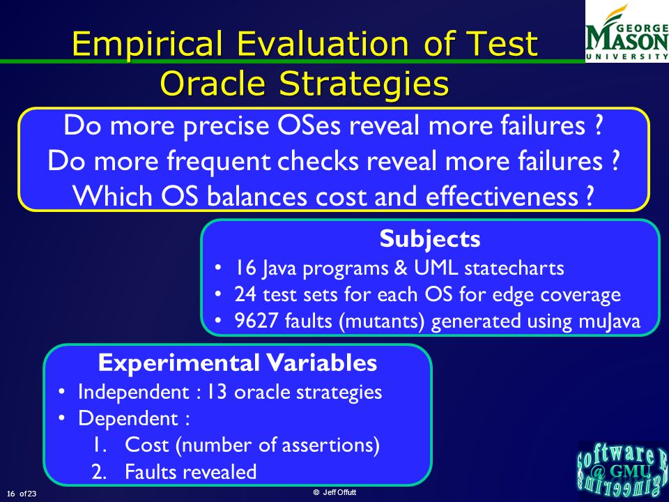 of 23 Empirical Evaluation of Test Oracle Strategies © Jeff Offutt 16 Do more precise OSes reveal more failures .