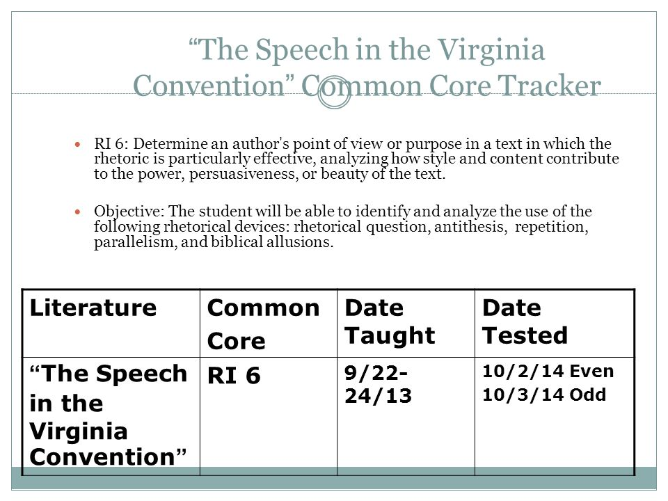 """The Speech in the Virginia Convention"" Common Core Tracker RI 6: Determine an author's point of view or purpose in a text in which the rhetoric is pa"