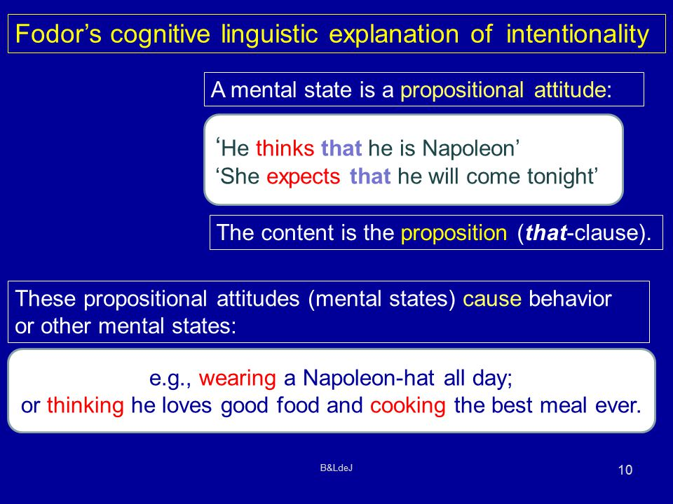 B&LdeJ 10 Fodor's cognitive linguistic explanation of intentionality A mental state is a propositional attitude: ' He thinks that he is Napoleon' 'She