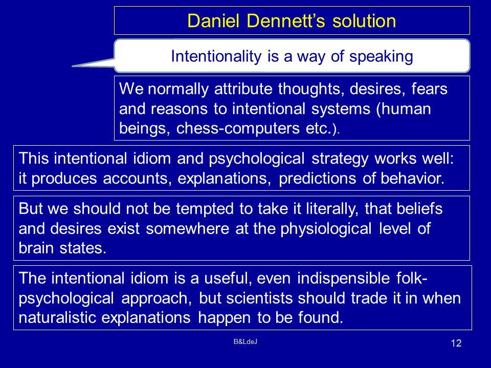 B&LdeJ 12 Intentionality is a way of speaking We normally attribute thoughts, desires, fears and reasons to intentional systems (human beings, chess-computers etc.