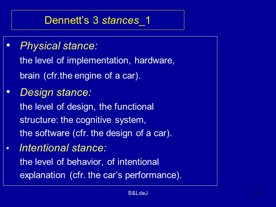B&LdeJ19 Dennett's 3 stances_1 Physical stance: the level of implementation, hardware, brain (cfr.the engine of a car).