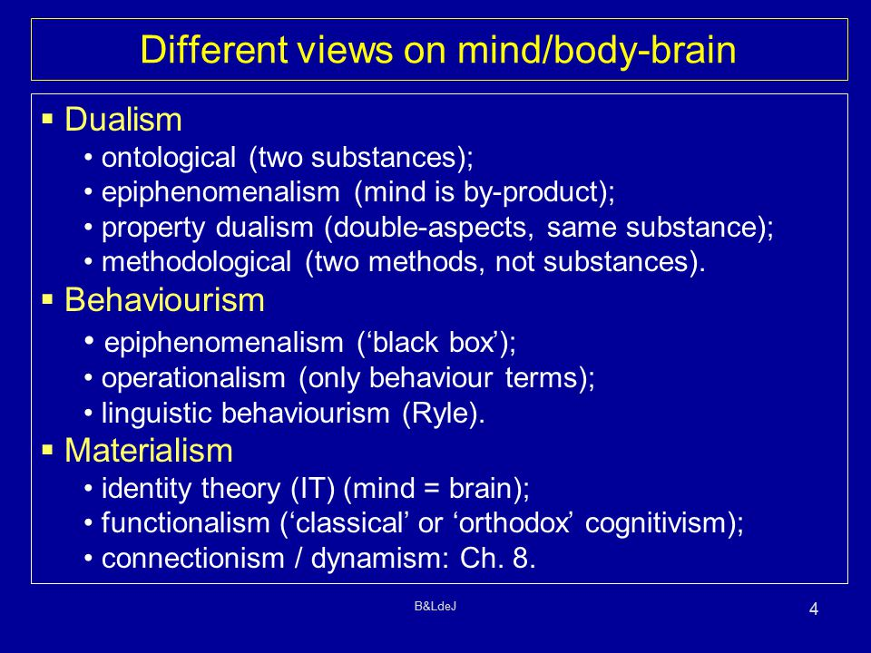B&LdeJ 4 Different views on mind/body-brain  Dualism ontological (two substances); epiphenomenalism (mind is by-product); property dualism (double-as