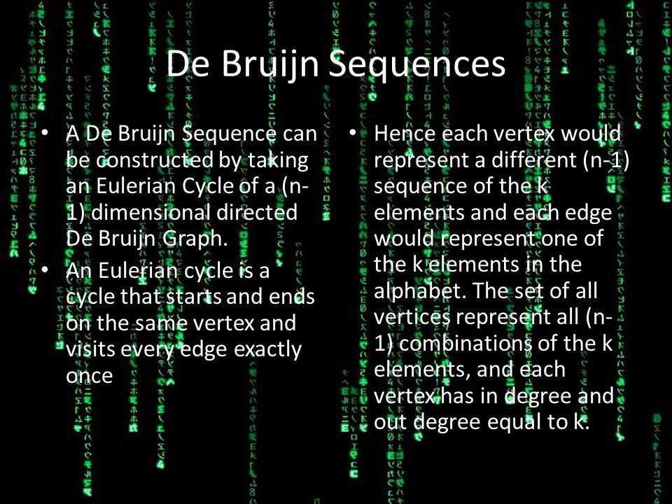 De Bruijn Sequences A De Bruijn Sequence can be constructed by taking an Eulerian Cycle of a (n- 1) dimensional directed De Bruijn Graph.