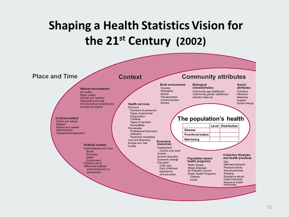 Shaping a Health Statistics Vision for the 21 st Century (2002) 15