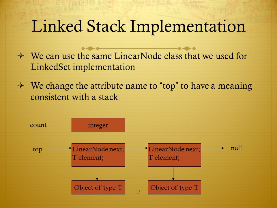 """13 Linked Stack Implementation  We can use the same LinearNode class that we used for LinkedSet implementation  We change the attribute name to """" to"""