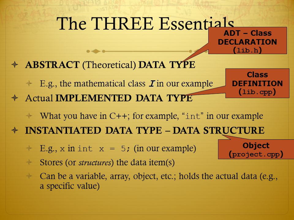 The THREE Essentials…  ABSTRACT (Theoretical) DATA TYPE I  E.g., the mathematical class I in our example  Actual IMPLEMENTED DATA TYPE  What you h