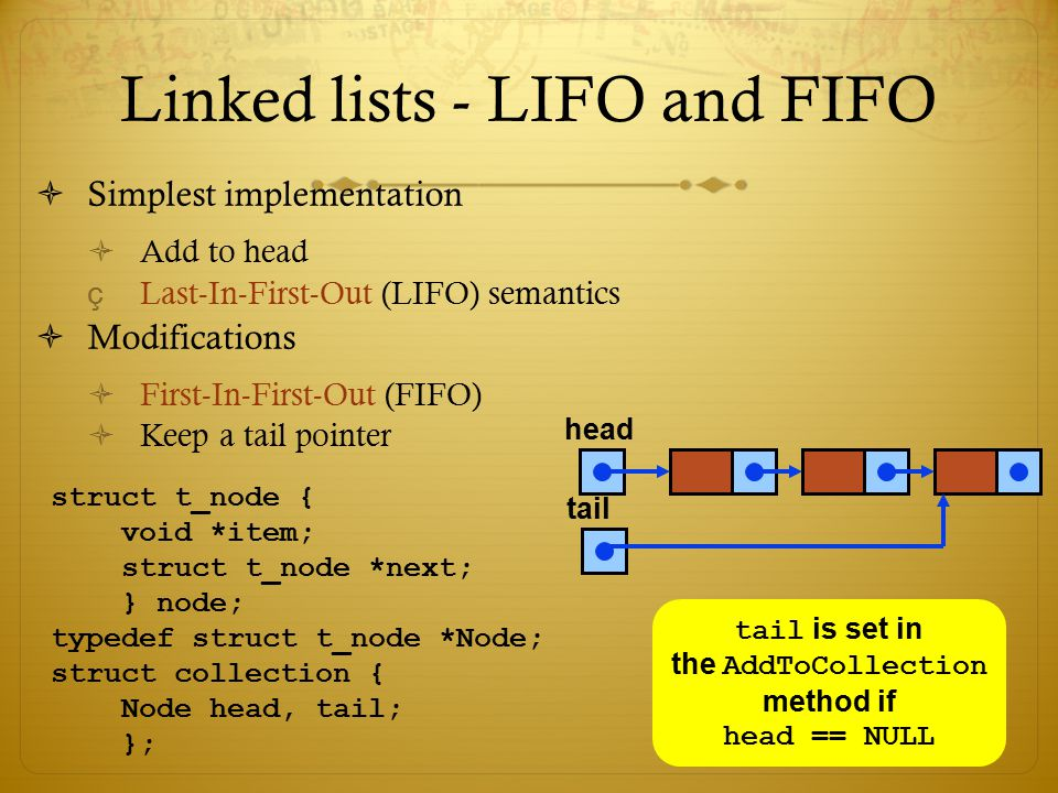 Linked lists - LIFO and FIFO  Simplest implementation  Add to head çLast-In-First-Out (LIFO) semantics  Modifications  First-In-First-Out (FIFO) 