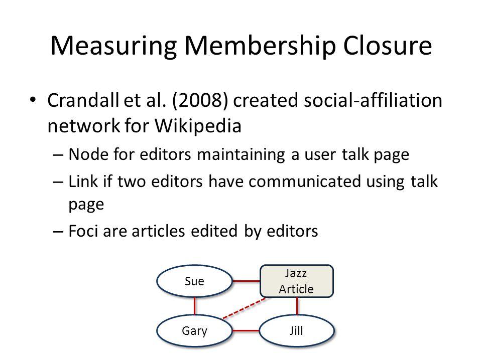 Measuring Membership Closure Crandall et al.