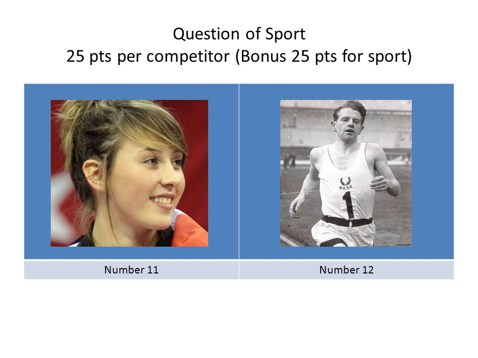 Question of Sport 25 pts per competitor (Bonus 25 pts for sport) Number 11Number 12