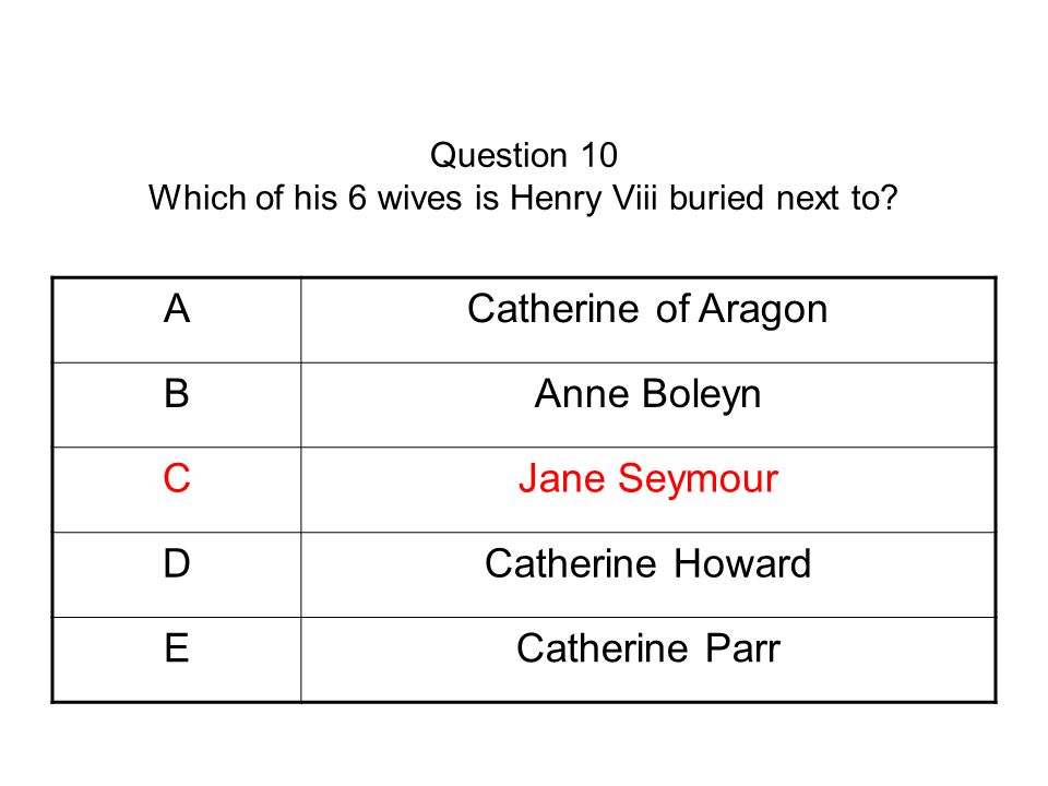 Question 10 Which of his 6 wives is Henry Viii buried next to.