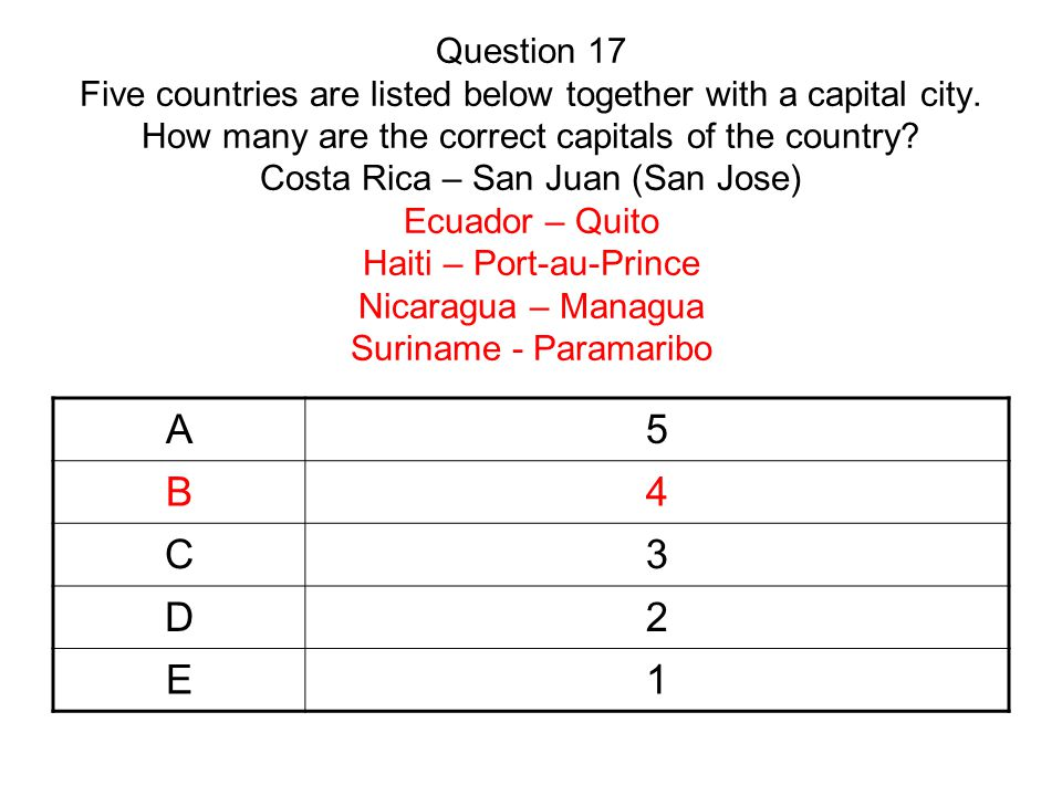 Question 17 Five countries are listed below together with a capital city.