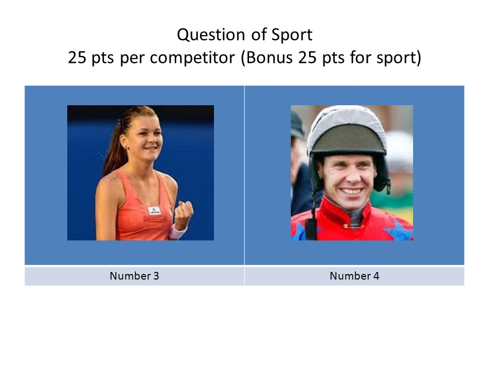 Question of Sport 25 pts per competitor (Bonus 25 pts for event) Number 5Number 6