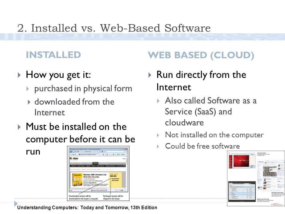 Understanding Computers: Today and Tomorrow, 13th Edition 2. Installed vs. Web-Based Software INSTALLED WEB BASED (CLOUD) 5  How you get it:  purcha