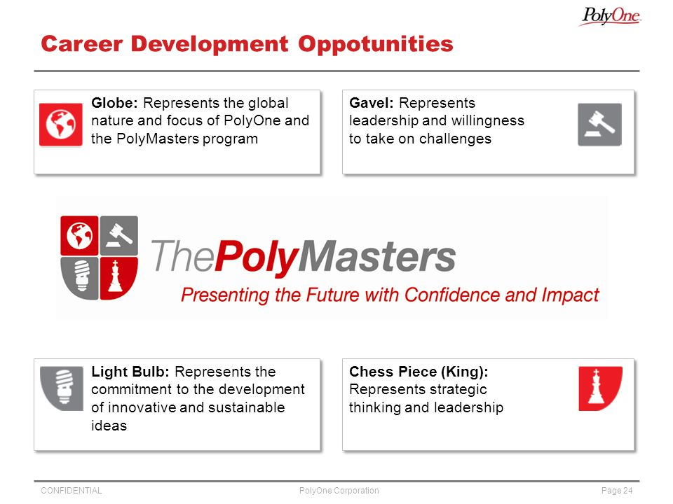 CONFIDENTIALPage 24PolyOne Corporation Career Development Oppotunities Globe: Represents the global nature and focus of PolyOne and the PolyMasters program Gavel: Represents leadership and willingness to take on challenges Light Bulb: Represents the commitment to the development of innovative and sustainable ideas Chess Piece (King): Represents strategic thinking and leadership