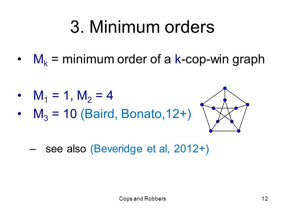 3. Minimum orders M k = minimum order of a k-cop-win graph M 1 = 1, M 2 = 4 M 3 = 10 (Baird, Bonato,12+) –see also (Beveridge et al, 2012+) Cops and R