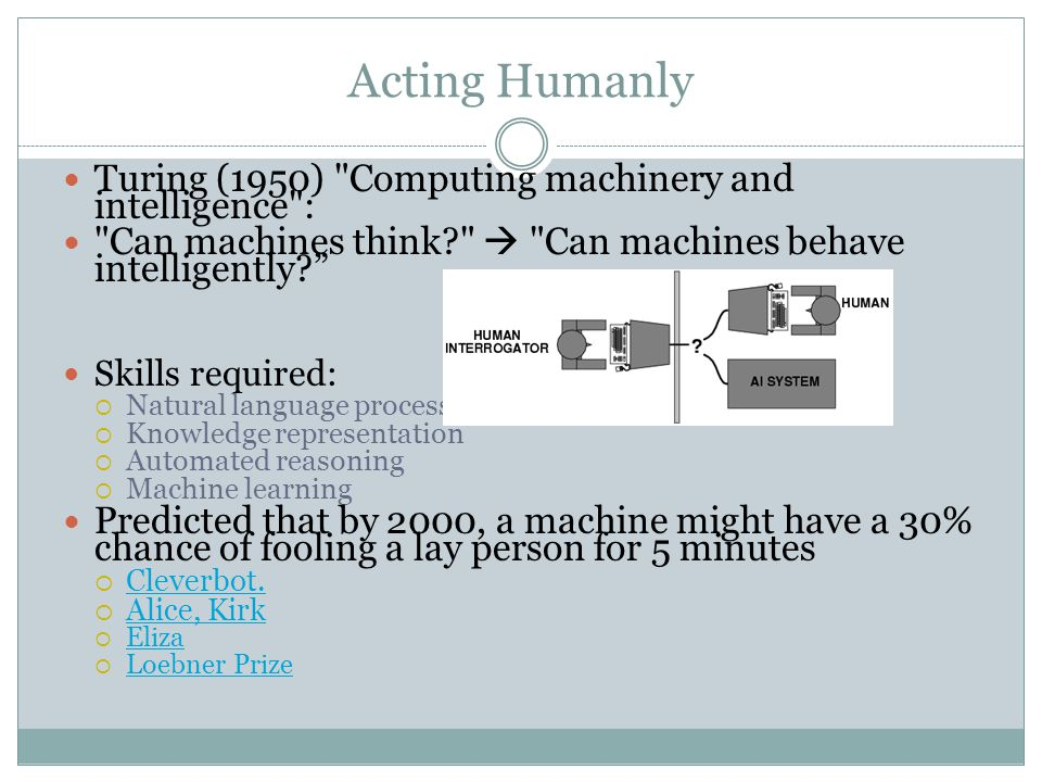 Acting Humanly Turing (1950) Computing machinery and intelligence : Can machines think  Can machines behave intelligently Skills required:  Natural language processing  Knowledge representation  Automated reasoning  Machine learning Predicted that by 2000, a machine might have a 30% chance of fooling a lay person for 5 minutes  Cleverbot.