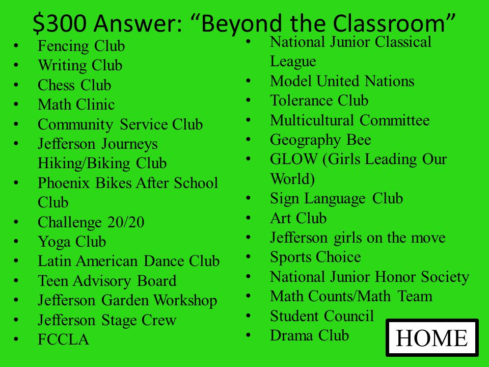 $300 Question: Beyond the Classroom What are the names of some clubs you could join.