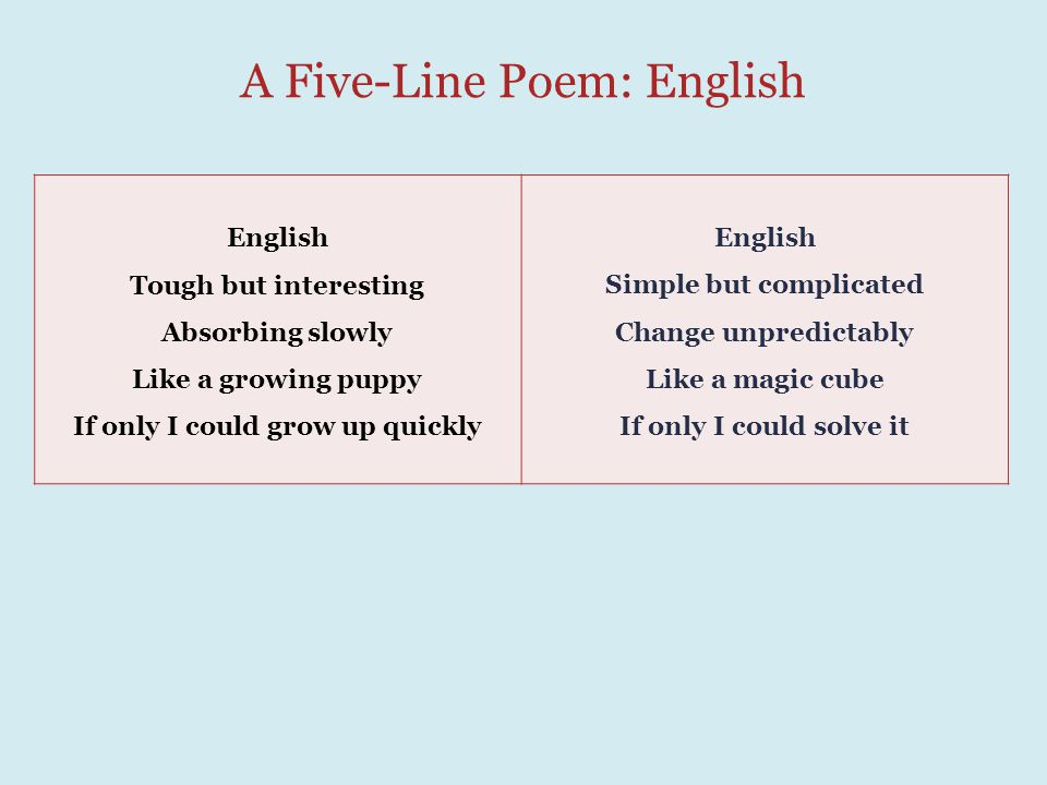 A Five-Line Poem: English English Tough but interesting Absorbing slowly Like a growing puppy If only I could grow up quickly English Simple but complicated Change unpredictably Like a magic cube If only I could solve it
