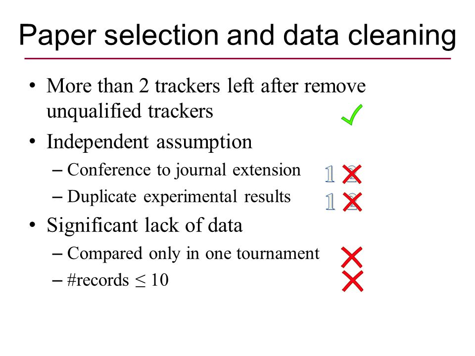 Paper selection and data cleaning More than 2 trackers left after remove unqualified trackers Independent assumption – Conference to journal extension
