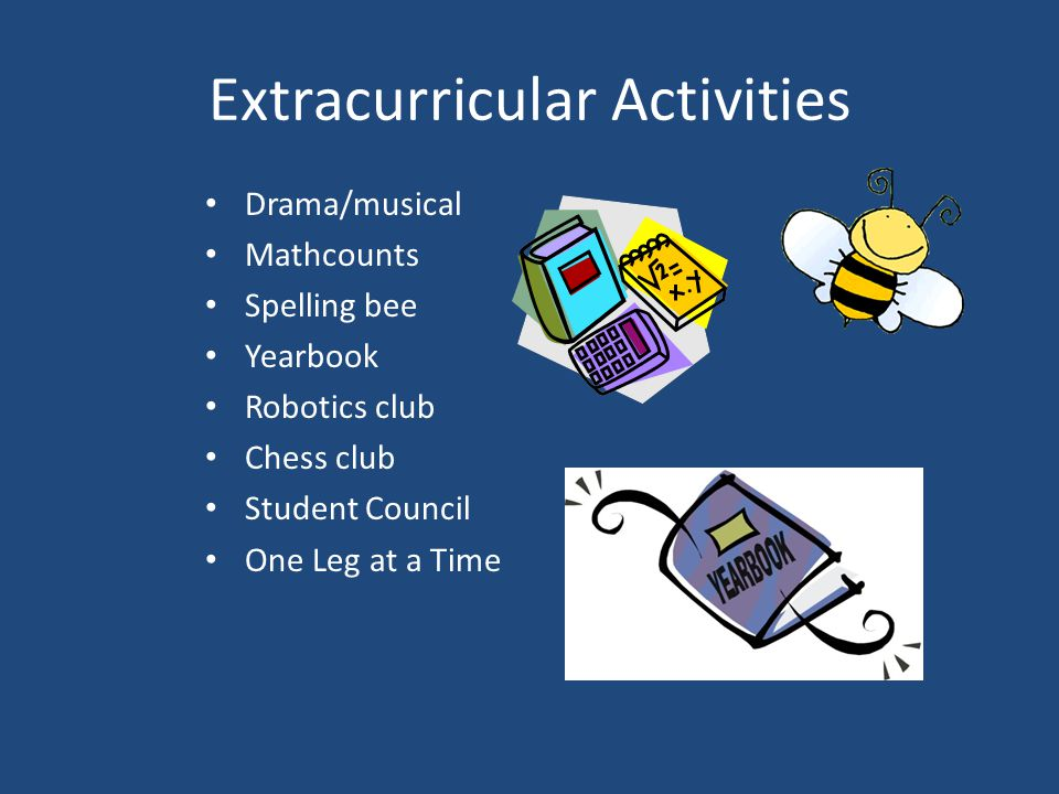 Extracurricular Activities Drama/musical Mathcounts Spelling bee Yearbook Robotics club Chess club Student Council One Leg at a Time