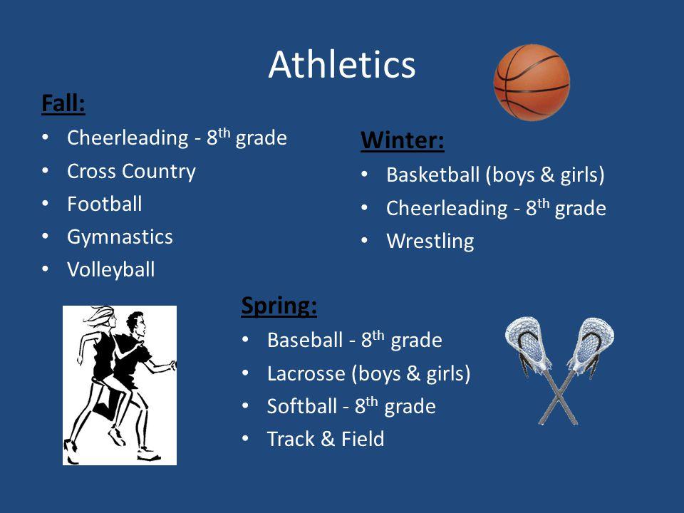 Athletics Fall: Cheerleading - 8 th grade Cross Country Football Gymnastics Volleyball Winter: Basketball (boys & girls) Cheerleading - 8 th grade Wrestling Spring: Baseball - 8 th grade Lacrosse (boys & girls) Softball - 8 th grade Track & Field