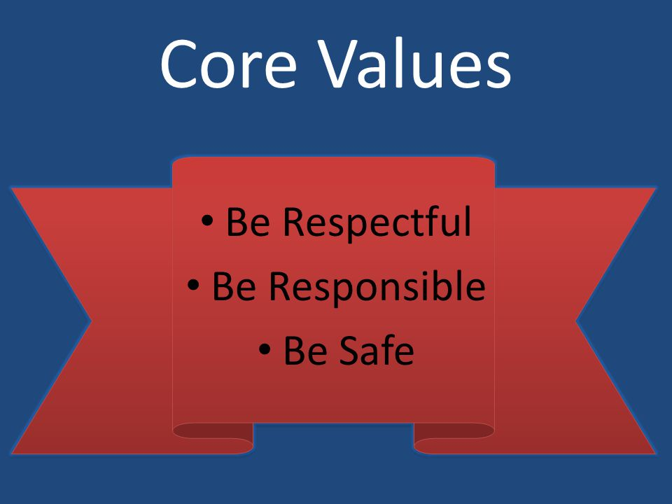 Core Values Be Respectful Be Responsible Be Safe