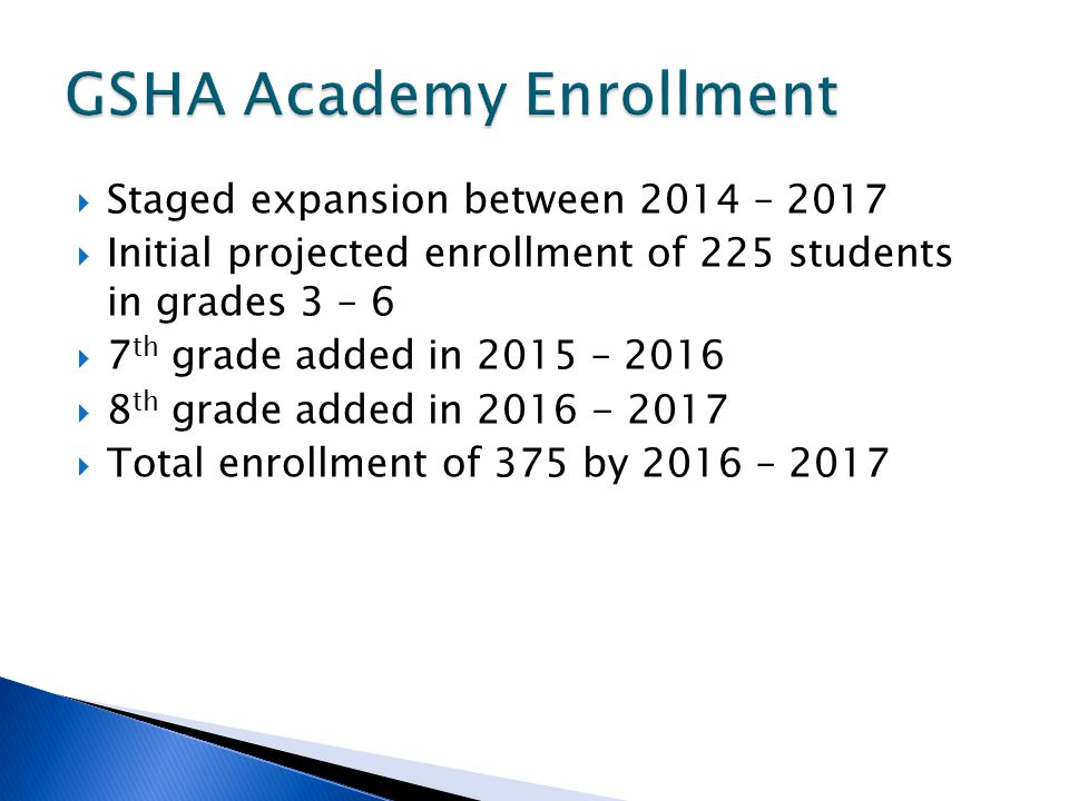  Staged expansion between 2014 – 2017  Initial projected enrollment of 225 students in grades 3 – 6  7 th grade added in 2015 – 2016  8 th grade added in 2016 - 2017  Total enrollment of 375 by 2016 – 2017