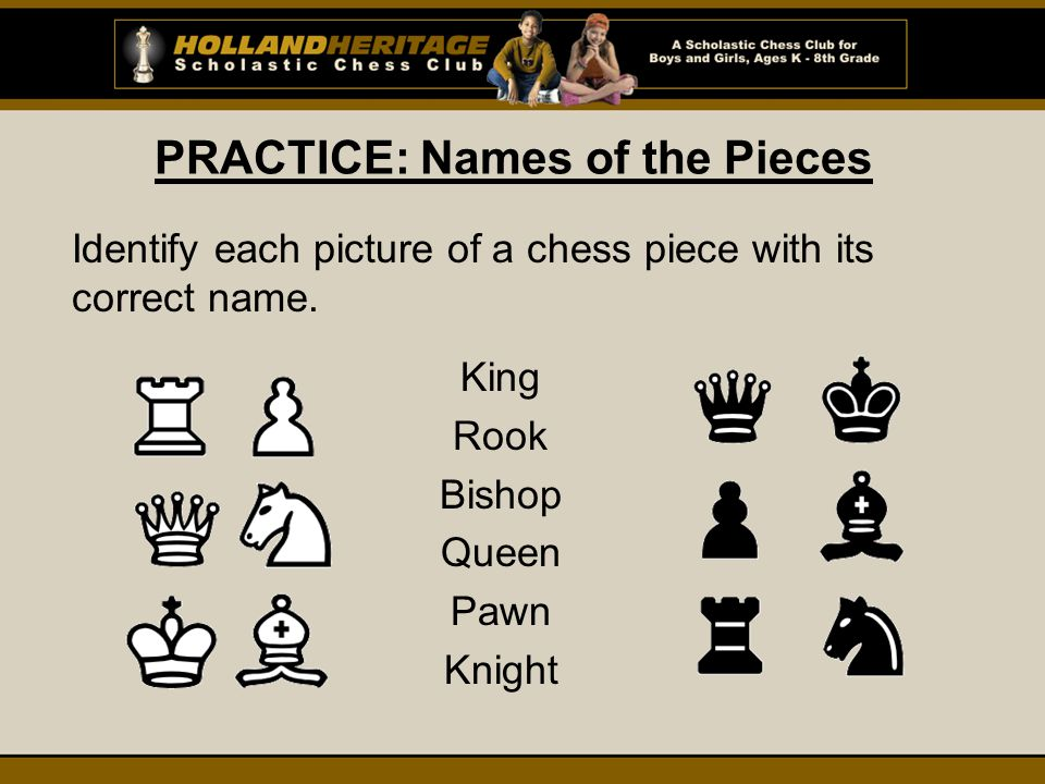 PRACTICE: Names of the Pieces Identify each picture of a chess piece with its correct name.