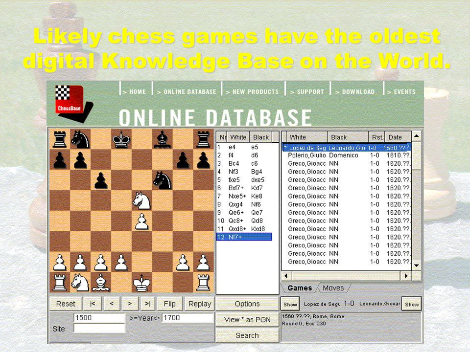 Likely chess games have the oldest digital Knowledge Base on the World. Largest on the World knowledge base is ChessBase online database It contains m