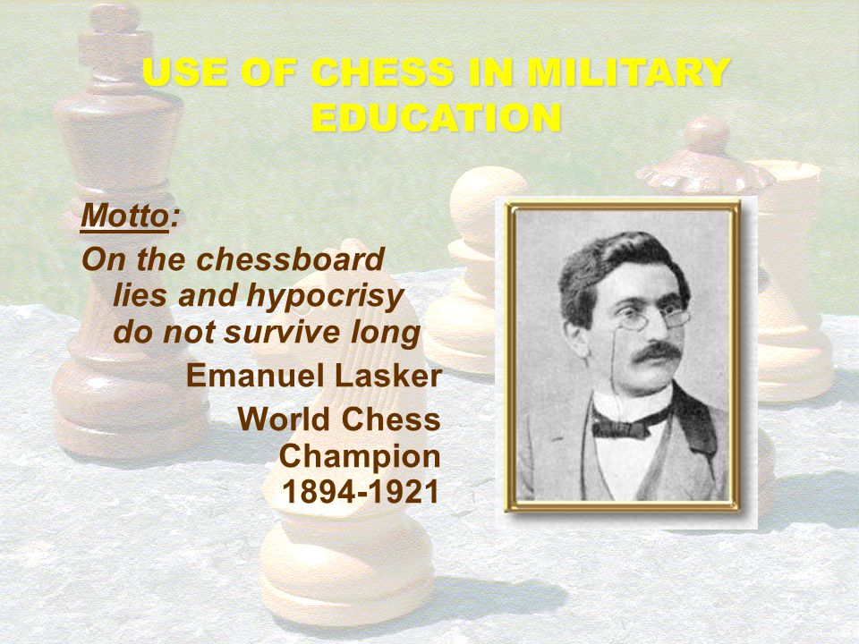 USE OF CHESS IN MILITARY EDUCATION Prof.Dr. György Kende Dr.