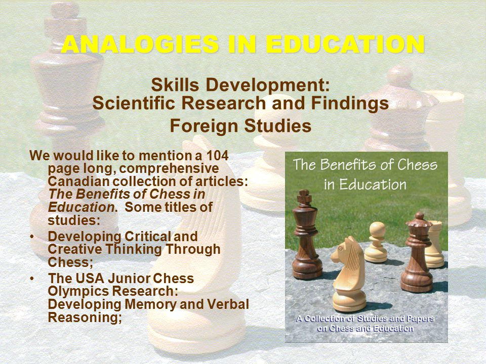 We would like to mention a 104 page long, comprehensive Canadian collection of articles: The Benefits of Chess in Education. Some titles of studies: C