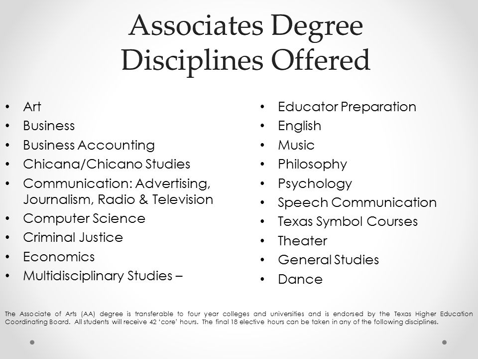 Art Business Business Accounting Chicana/Chicano Studies Communication: Advertising, Journalism, Radio & Television Computer Science Criminal Justice Economics Multidisciplinary Studies – Educator Preparation English Music Philosophy Psychology Speech Communication Texas Symbol Courses Theater General Studies Dance The Associate of Arts (AA) degree is transferable to four year colleges and universities and is endorsed by the Texas Higher Education Coordinating Board.