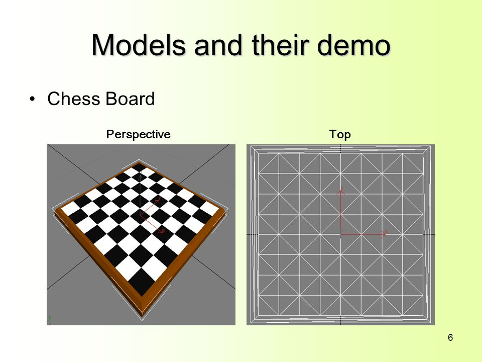 6 Models and their demo Chess Board PerspectiveTop