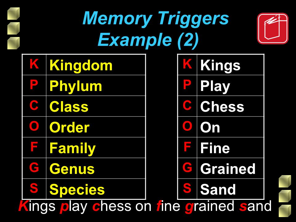 Memory Triggers Example (2) K Kingdom P Phylum C Class O Order F Family G Genus S Species Kings play chess on fine grained sand K Kings P Play C Chess O On F Fine G Grained S Sand