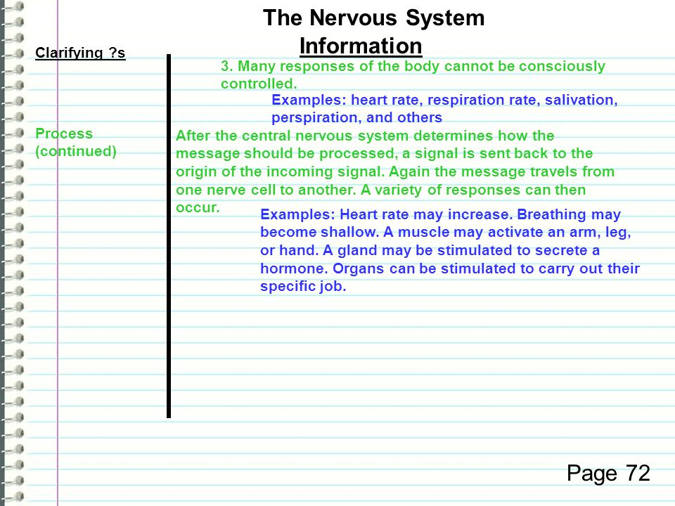 Clarifying ?s Information Page 72 The Nervous System Examples: Heart rate may increase.