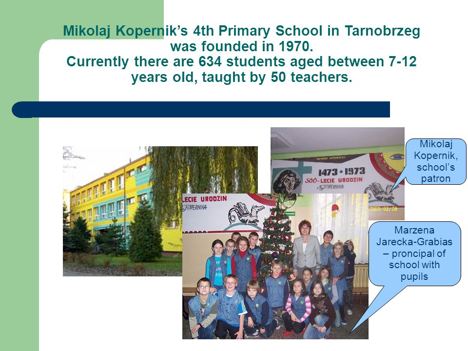 Mikolaj Kopernik's 4th Primary School in Tarnobrzeg was founded in 1970.
