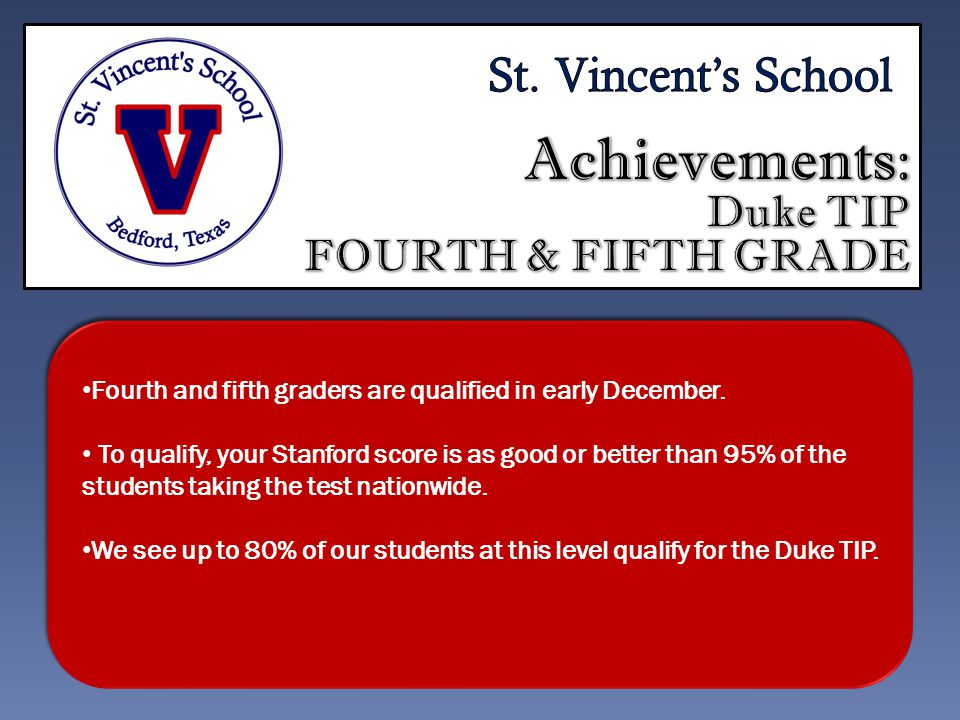 Fourth and fifth graders are qualified in early December.