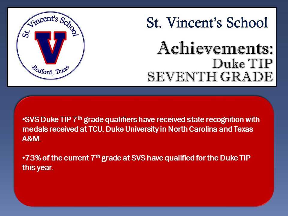 SVS Duke TIP 7 th grade qualifiers have received state recognition with medals received at TCU, Duke University in North Carolina and Texas A&M.