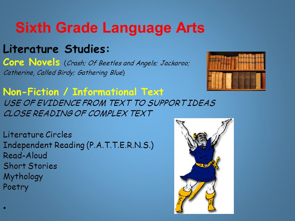 Sixth Grade Language Arts Literature Studies: Core Novels (Crash; Of Beetles and Angels; Jackaroo; Catherine, Called Birdy; Gathering Blue) Non-Fiction / Informational Text USE OF EVIDENCE FROM TEXT TO SUPPORT IDEAS CLOSE READING OF COMPLEX TEXT Literature Circles Independent Reading (P.A.T.T.E.R.N.S.) Read-Aloud Short Stories Mythology Poetry