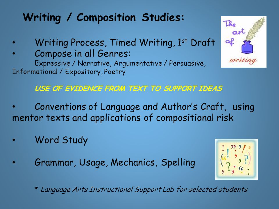 Writing / Composition Studies: Writing Process, Timed Writing, 1 st Draft Compose in all Genres: Expressive / Narrative, Argumentative / Persuasive, I