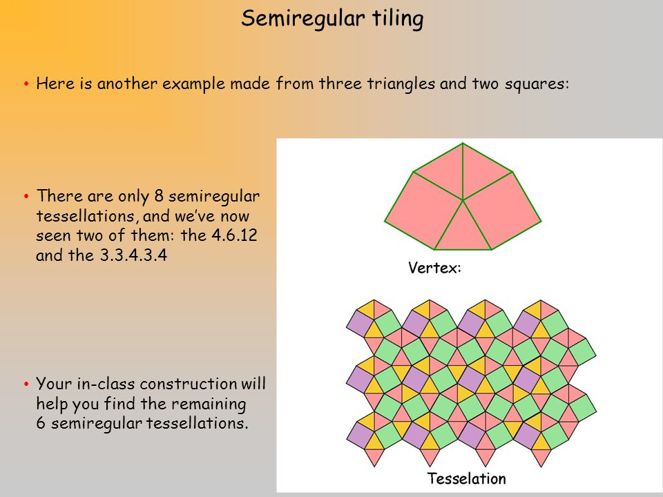 A semiregular tiling has the same game rules except that now we can use more than one type of regular polygon. To name a tessellation, work your way a
