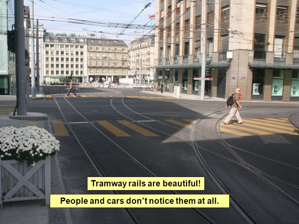 Tramway rails are beautiful! People and cars don't notice them at all.