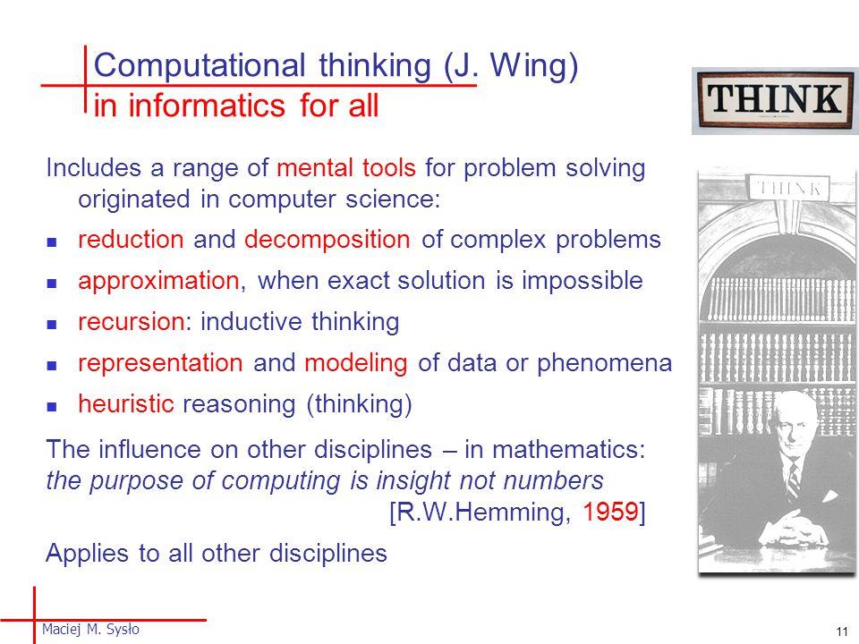 Computational thinking (J.