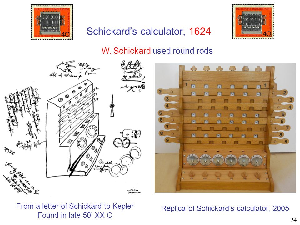 Schickard's calculator, 1624 From a letter of Schickard to Kepler Found in late 50' XX C Replica of Schickard's calculator, 2005 W.