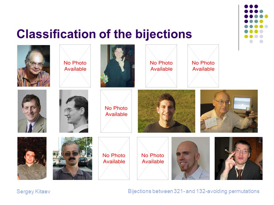 Sergey Kitaev Bijections between 321- and 132-avoiding permutations Classification of the bijections