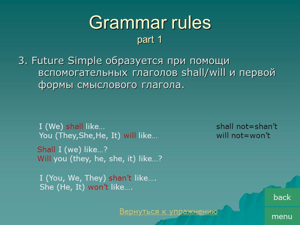 Grammar rules part 1 3. Future Simple образуется при помощи вспомогательных глаголов shall/will и первой формы смыслового глагола. back menu I (We) sh