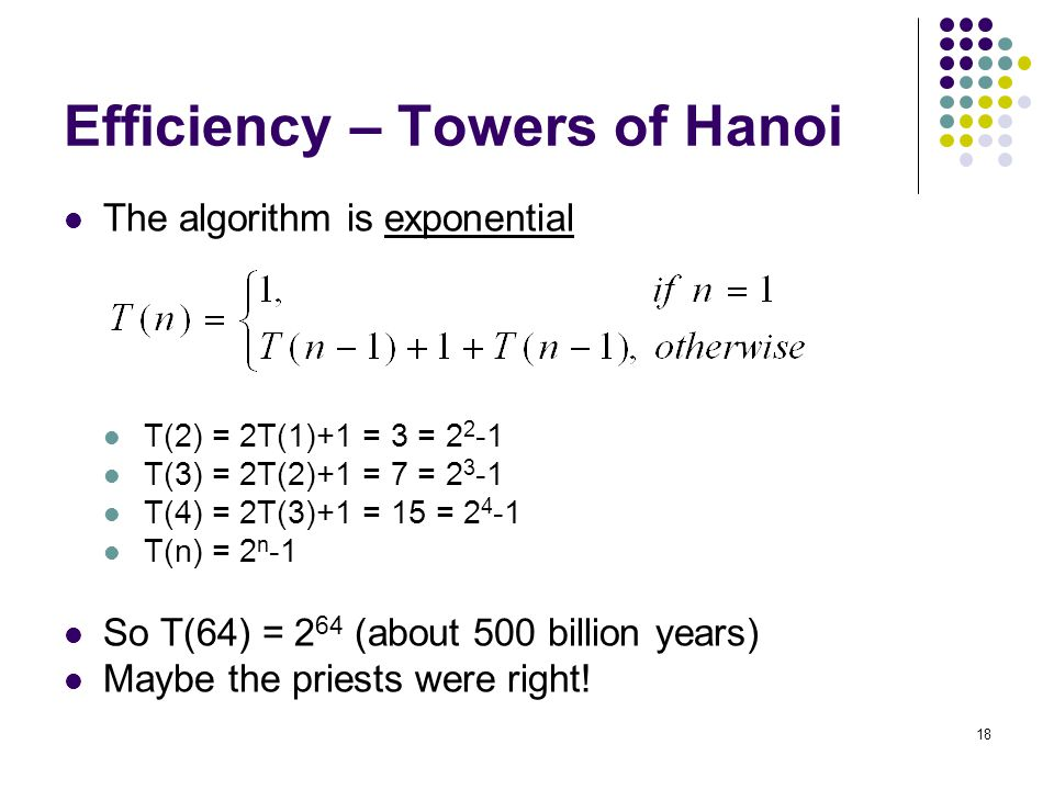 18 Efficiency – Towers of Hanoi The algorithm is exponential T(2) = 2T(1)+1 = 3 = 2 2 -1 T(3) = 2T(2)+1 = 7 = 2 3 -1 T(4) = 2T(3)+1 = 15 = 2 4 -1 T(n) = 2 n -1 So T(64) = 2 64 (about 500 billion years) Maybe the priests were right!