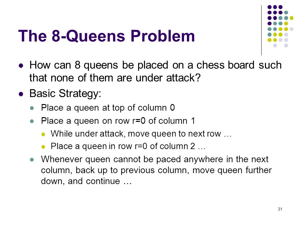 31 The 8-Queens Problem How can 8 queens be placed on a chess board such that none of them are under attack? Basic Strategy: Place a queen at top of c