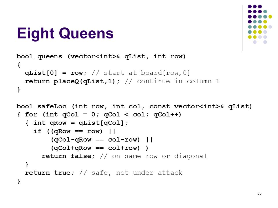 35 Eight Queens bool queens (vector & qList, int row) { qList[0] = row; // start at board[row,0] return placeQ(qList,1); // continue in column 1 } bool safeLoc (int row, int col, const vector & qList) { for (int qCol = 0; qCol < col; qCol++) { int qRow = qList[qCol]; if ((qRow == row) || (qCol-qRow == col-row) || (qCol+qRow == col+row) ) return false; // on same row or diagonal } return true; // safe, not under attack }