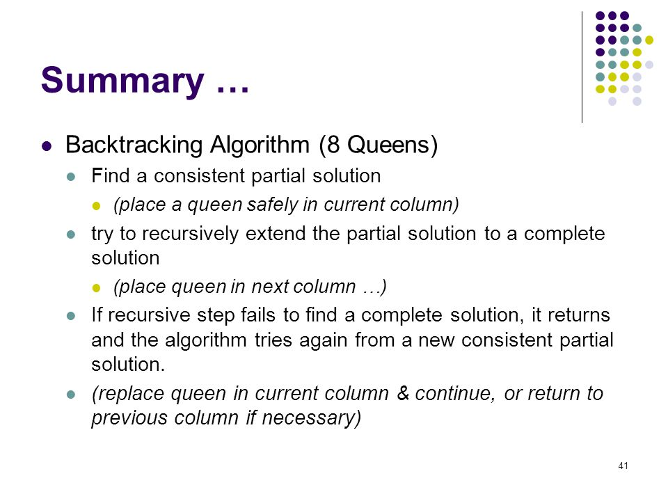 41 Summary … Backtracking Algorithm (8 Queens) Find a consistent partial solution (place a queen safely in current column) try to recursively extend t